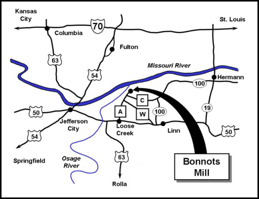 Map showing directions to Bonnots Mill